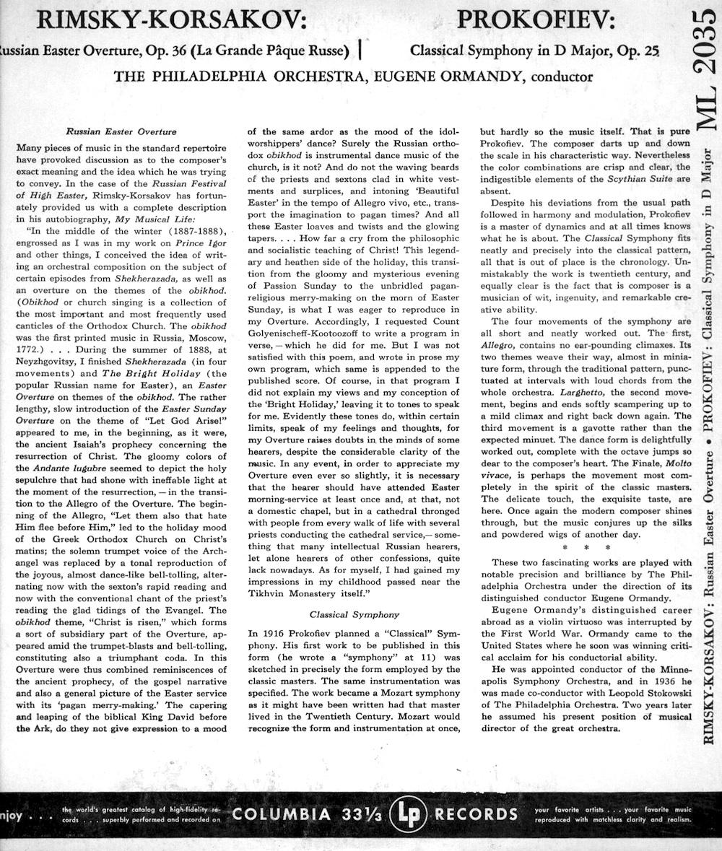 Rimsky prokofiev ormandy 2